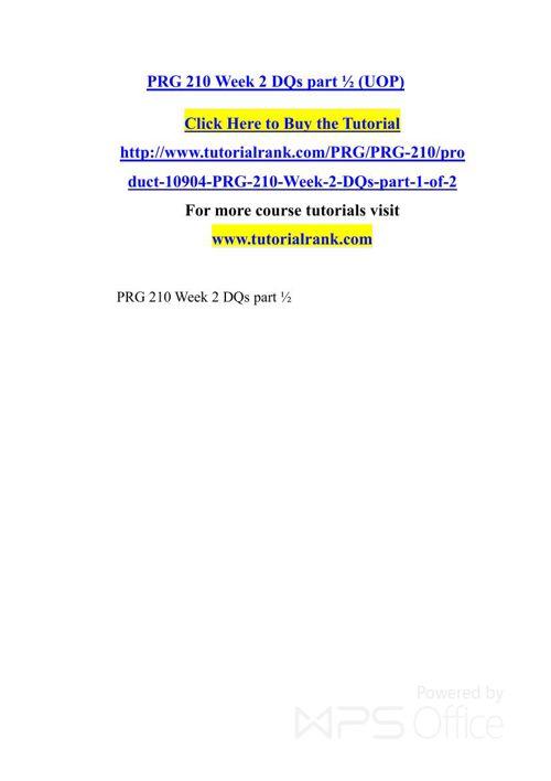 PRG 210 UOP Courses /TutorialRank