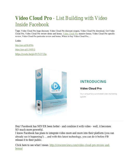Video Cloud Pro  review in detail – Video Cloud Pro  Massive bon