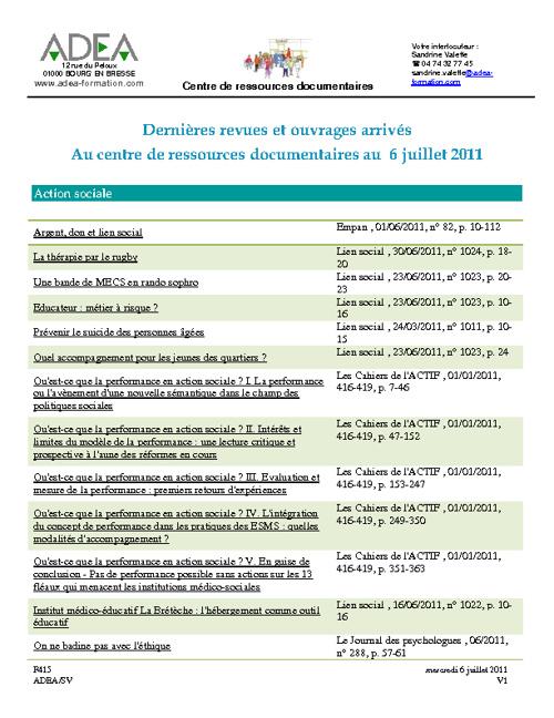 Dernières revues et ouvrages arrivés au centre de ressources doc