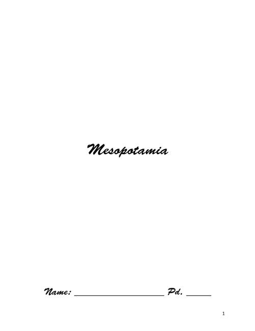 Mesopotamia Booklet