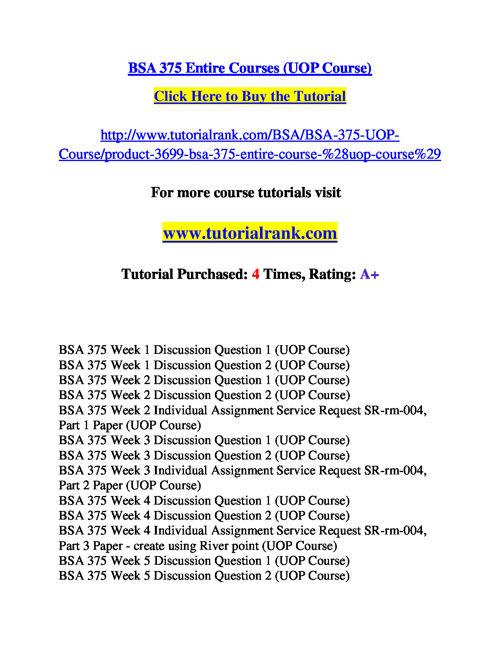 BSA 375 Course Success Begins / tutorialrank.com