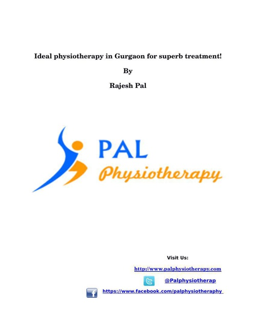 IDEAL PHYSIOTHERAPY IN GURGAON FOR SUPERB TREATMENT!