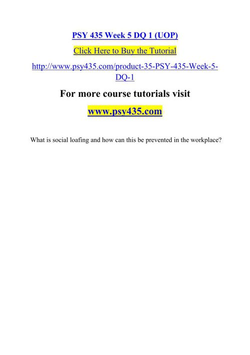 PSY 435 Week 5 DQ 1 (UOP)