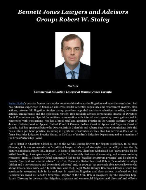 Bennett Jones Lawyers and Advisors Group: Robert W. Staley