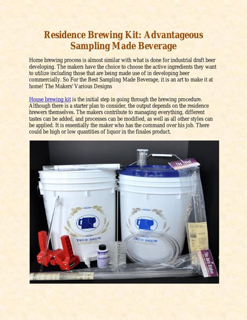 Residence Brewing Kit - Advantageous Sampling Made Beverage