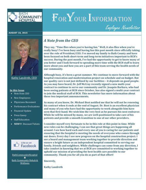Bath Community Hospital - August Newsletter