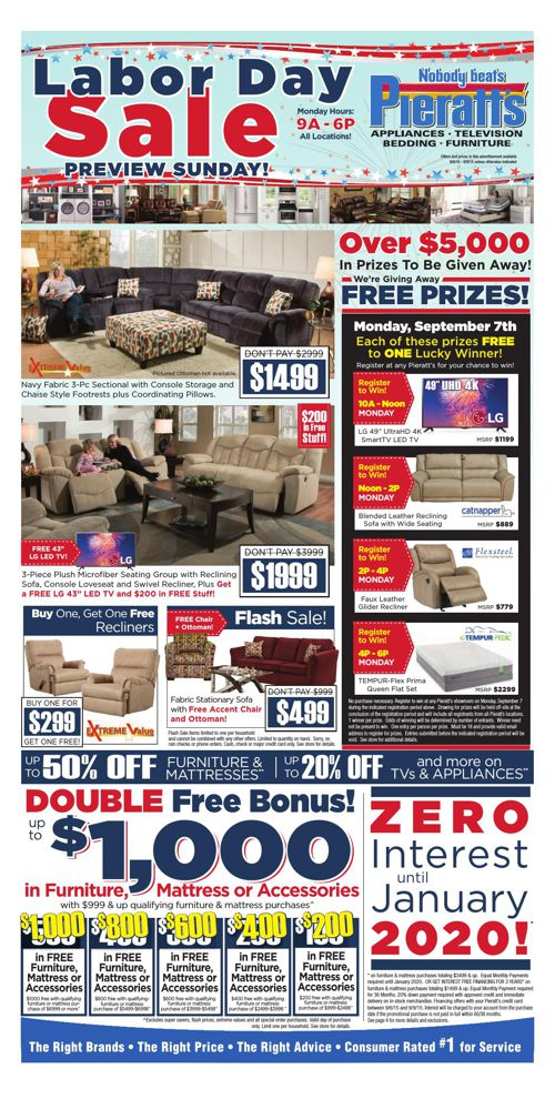 You Could Win BIG This Labor Day at Pieratt's!