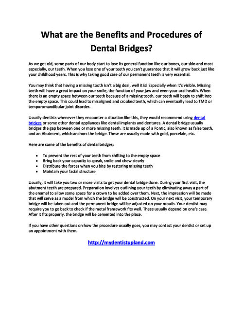 What are the Benefits and Procedures of Dental Bridges?