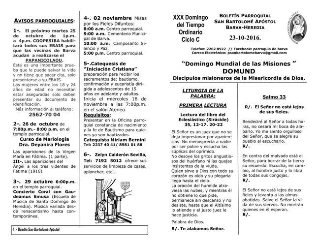 Boletín XXX Domingo del Tiempo Ordinario