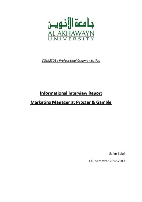 Informational Interview Final version - Salim Sabri