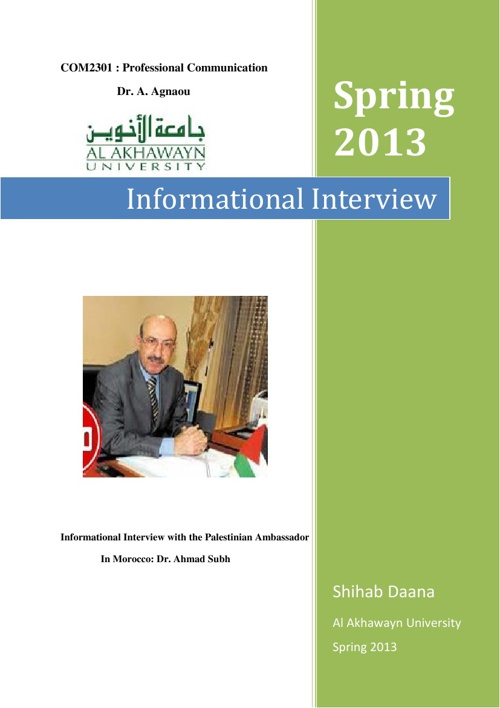Informational Interview with the Palestinian ambassador in Maroc