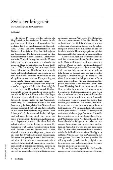 Zwischenkriegszeit. Editorial