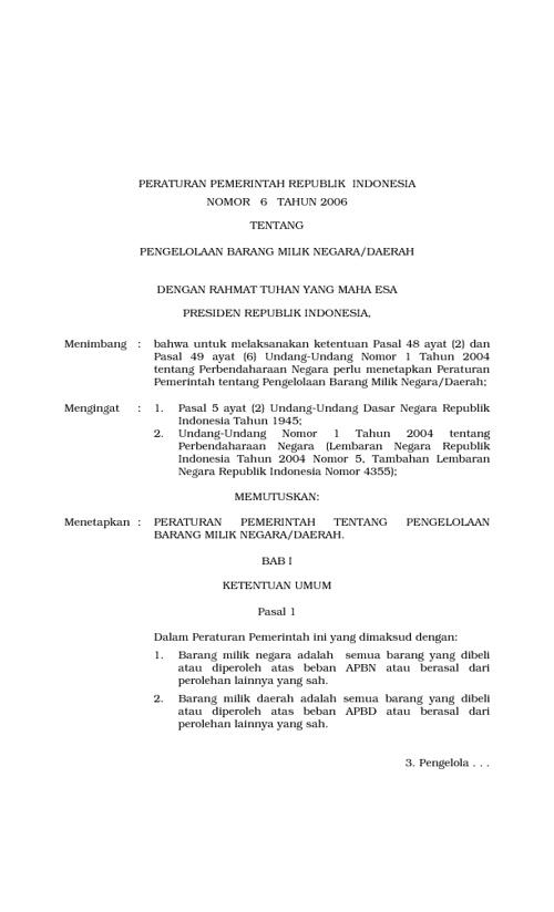 Peraturan pemerintah No.6 tahun 2006engelolaan BMN