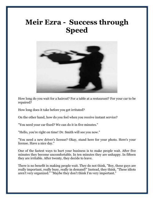Meir Ezra -  Success through Speed