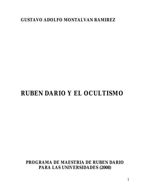 RUBEN DARIO Y EL OCULTISMO