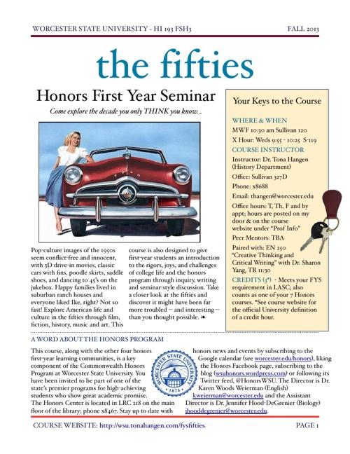 HI 193 The Fifties (Honors Fall 2013)