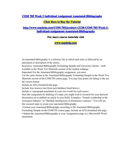 COM 705 Week 2 Individual Assignment Annotated Bibliography