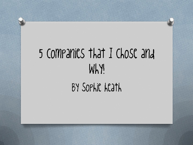 5 companies and why i chose them! SHEATH