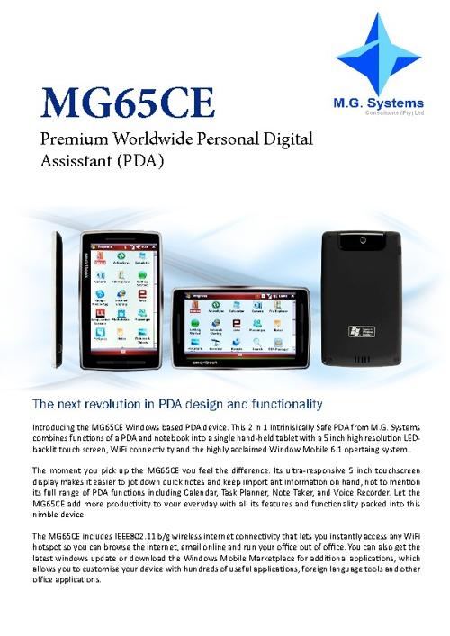 MG65CE PDA Datasheet