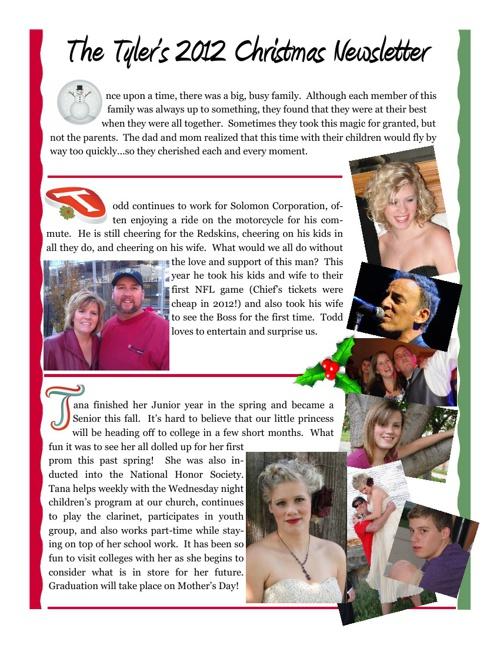 Tyler Christmas Newsletter 2012
