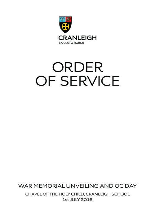 Order of Service at Cranleigh School