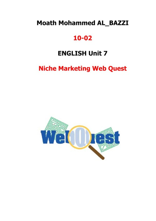 Niche Marketing Web Quest_Moath 10-02