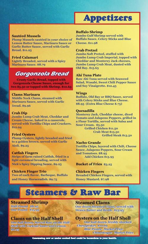 Seafood Menu Examples