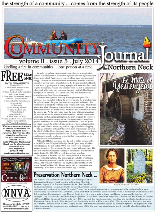 The Community Journal of the Northern Neck . July 2014
