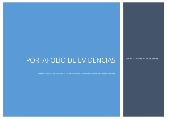 Portafolio de Evidencias. Taller de Lectura y Redacción III.