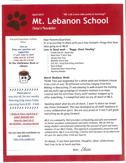 Principal's Newsletter April 2015