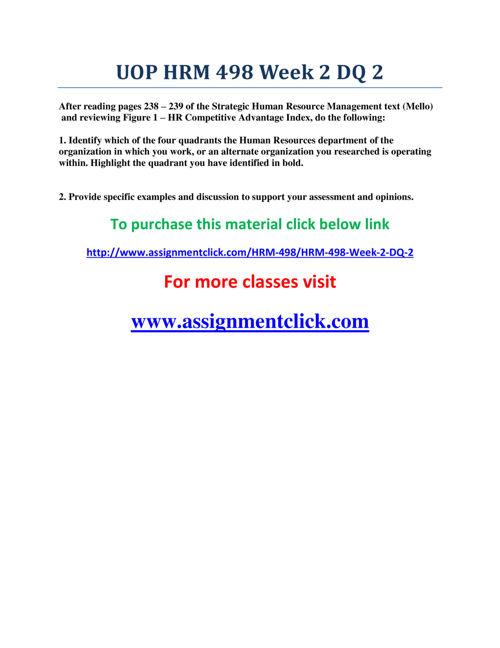 UOP HRM 498 Week 2 DQ 2
