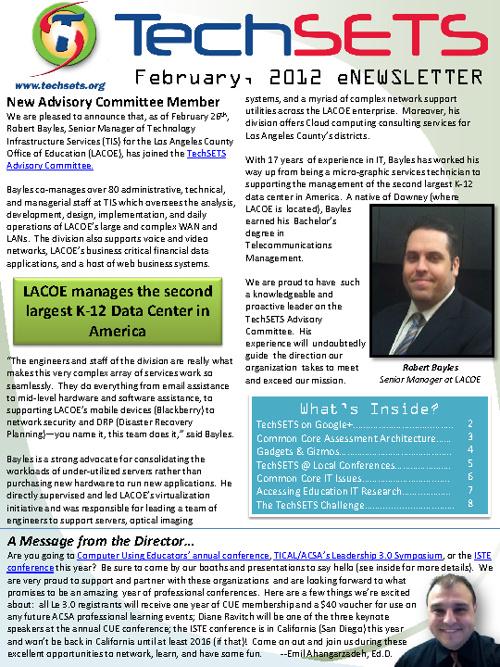 TechSETS eNewsletter February 2012