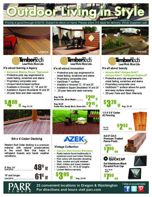 Parr Lumber June 2016 Sale - Seattle Locations