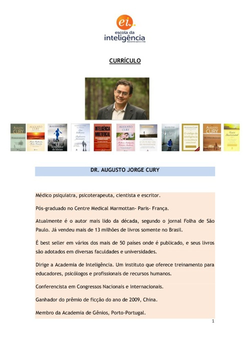 Curriculo Dr. Augusto Cury