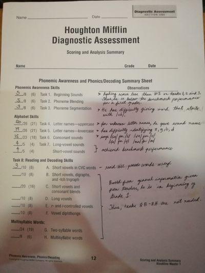 Diagnostic Assessment Summary