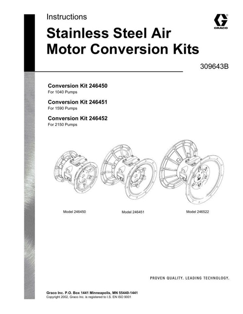Husky 1040, 1590, 2150 Stainless Steel Air Motor Conversion Kits