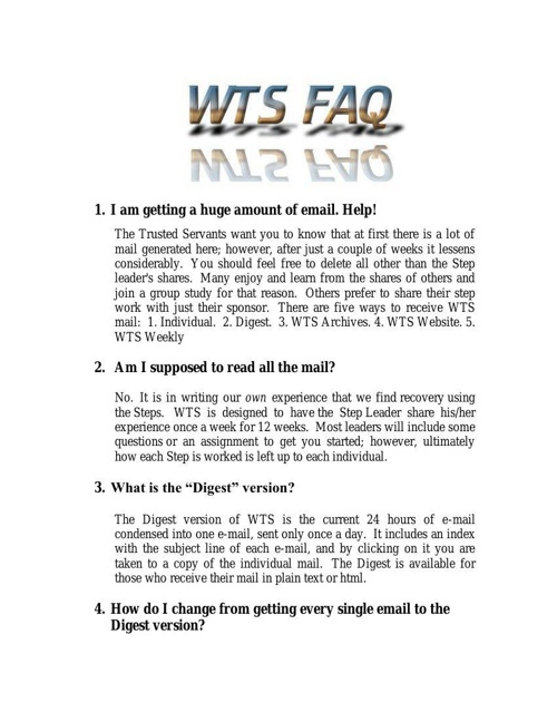 WTS ~ Working the Steps FAQ