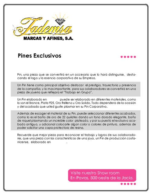 Catálogo Pines