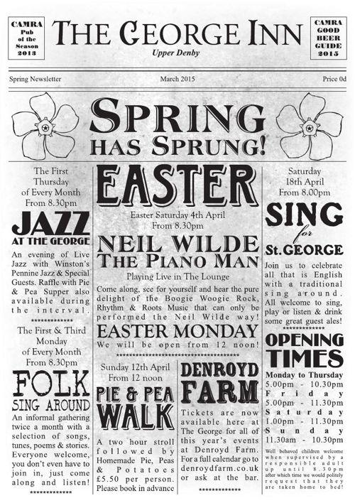 The George Inn Upper Denby Spring Newsletter 2015
