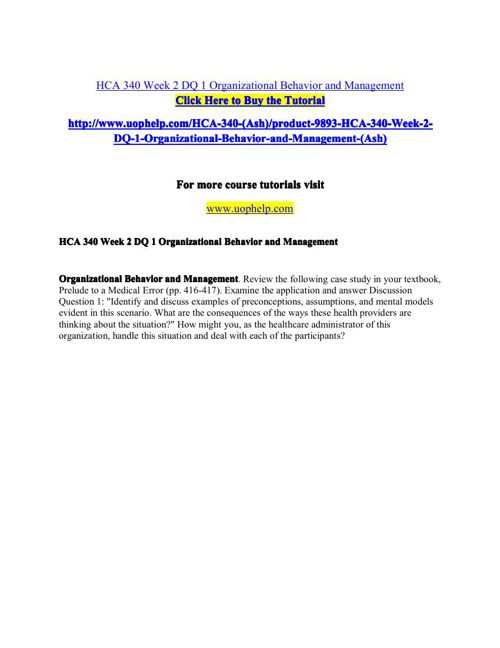 HCA 340 Academic Coach/uophelp