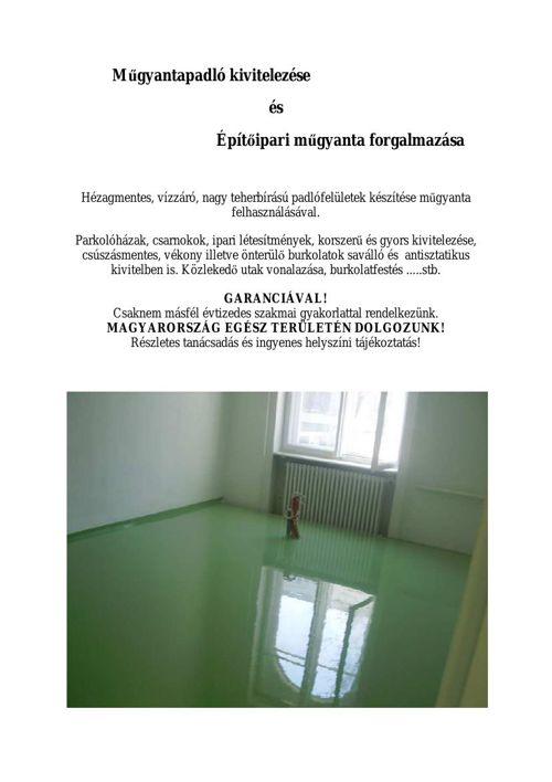 Hézagmentes ipari műgyanta padló kivitelezése