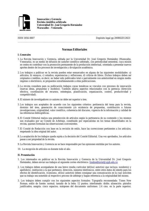 Normas Editoriales Revista Científica Innovación y Gerencia