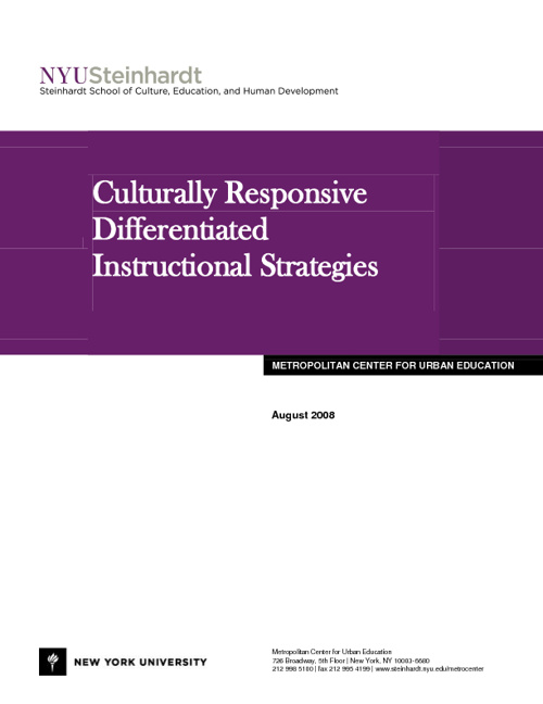 Culturally Responsive Differentiated Instructional Strategies