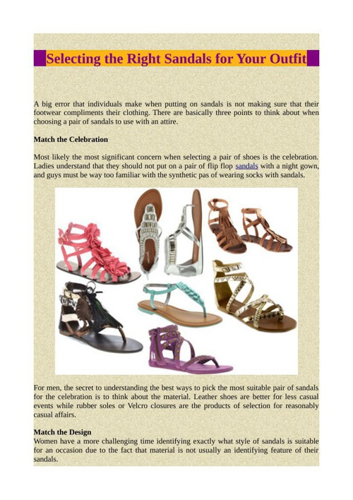 Selecting the Right Sandals for Your Outfit