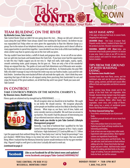 Take Control August Newsletter 2013