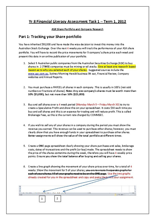 Updated ASX assessment Task 28th March 2012