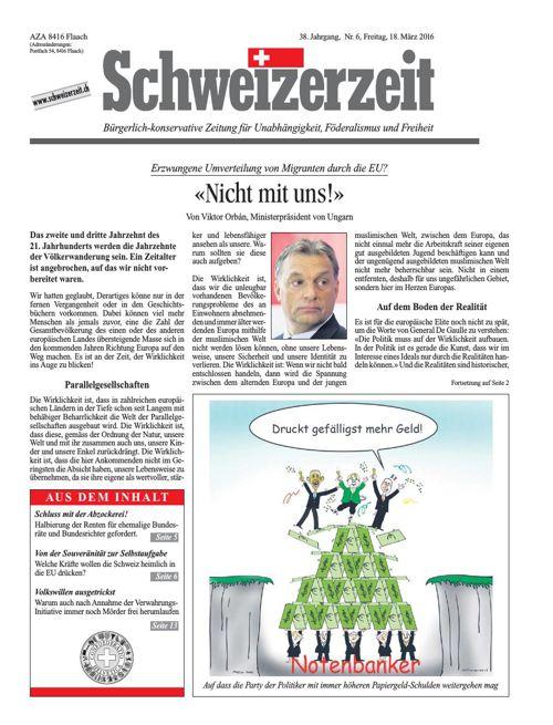 Schweizerzeit-Ausgabe Nr. 6 vom 18.03.2016