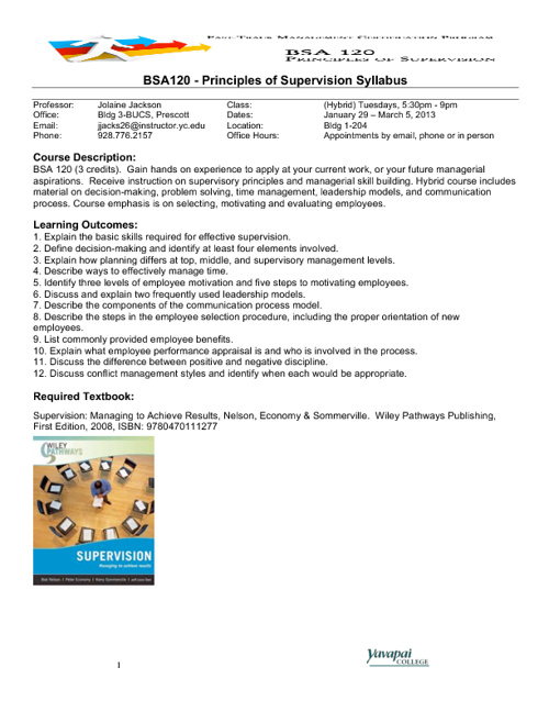 BSA 120 - SYLLABUS - Principles of Supervision - Spring 2013
