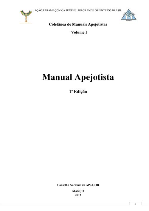 Manual Apejotista, 1ª Edição - APROVADO pelo Conselho Nacional