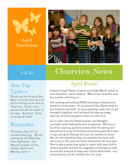 Clearview's April 2012 Newsletter